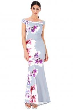 Společenské šaty Charlize světle šedé s květy