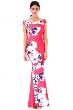 Společenské šaty Charlize fuchsiové s květy
