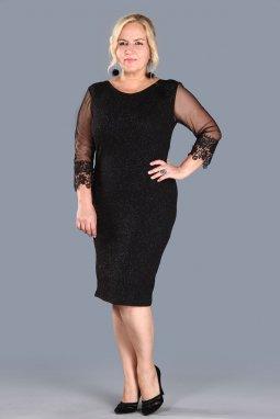 Společenské šaty pro plnoštíhlé Faustine černé