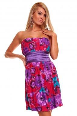 Šaty Pamela růžovo-fialové s květy