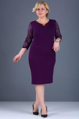 Společenské šaty pro plnoštíhlé Mignon fialové