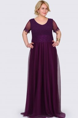 Společenské šaty pro plnoštíhlé Estrella fialové dlouhé