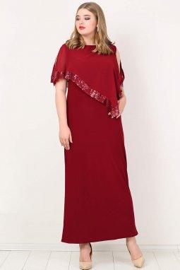 Společenské šaty pro plnoštíhlé Cassandra vínově červené dlouhé