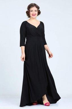 Společenské šaty pro plnoštíhlé Federica černé dlouhé