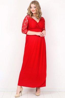 Společenské šaty pro plnoštíhlé Rafaella červené dlouhé