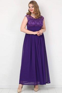 Společenské šaty pro plnoštíhlé Isidora fialové dlouhé