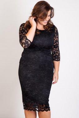 Společenské krajkové šaty pro plnoštíhlé Kiara černé