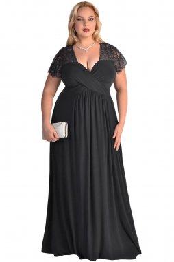 Společenské šaty pro plnoštíhlé Riley černé dlouhé