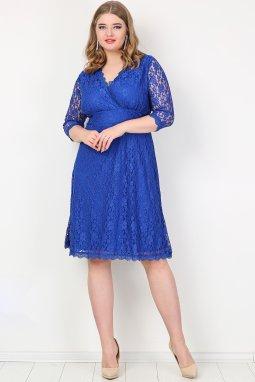 Krajkové společenské šaty pro plnoštíhlé Amore modré náhled