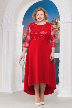 Luxusní společenské šaty pro plnoštíhlé Donatella červené dlouhé