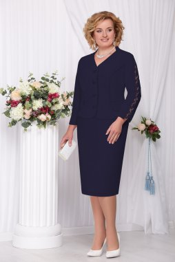 Sukňový kostýmek pro plnoštíhlé Marietta tmavě modrý