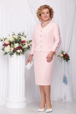 Sukňový kostýmek pro plnoštíhlé Marietta broskvový