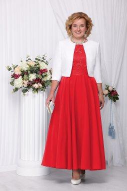 Luxusní společenské šaty pro plnoštíhlé Eugenia červené dlouhé s bílým kabátkem