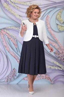 Luxusní společenské šaty pro plnoštíhlé Fortunata tmavě modré s bílým kabátkem