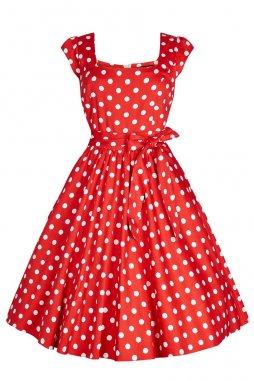 Retro šaty pro plnoštíhlé Amalia červené s bílými puntíky s všitou spodničkou