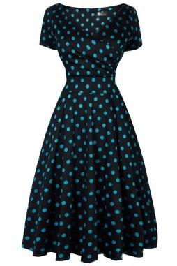 Retro šaty pro plnoštíhlé Brenda černé s modrozelenými puntíky