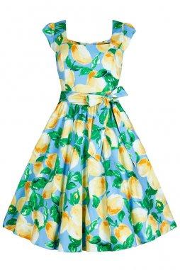 Retro šaty Amalia světle modré s citróny s všitou spodničkou