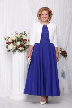 Luxusní společenské šaty pro plnoštíhlé Eugenia modré dlouhé s bílým kabátkem