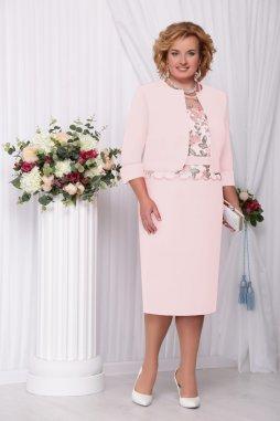 Luxusní společenské šaty pro plnoštíhlé Ornella broskvové s kabátkem