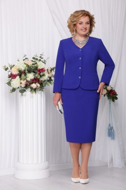 Sukňový kostýmek pro plnoštíhlé Ernesta modrý