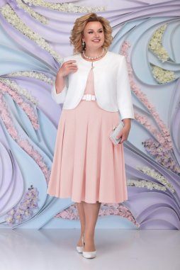 Luxusní společenské šaty pro plnoštíhlé Fortunata broskvové s bílým kabátkem