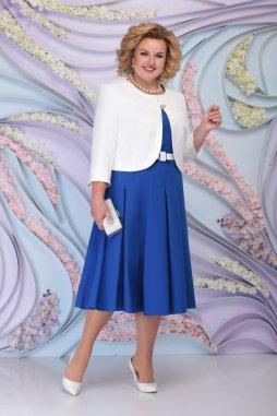 Luxusní společenské šaty pro plnoštíhlé Fortunata modré s bílým kabátkem