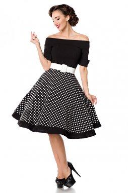 Rockabilly retro šaty Tinley černé s bílými puntíky