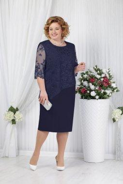 Luxusní společenské šaty pro plnoštíhlé Pietrina tmavě modré