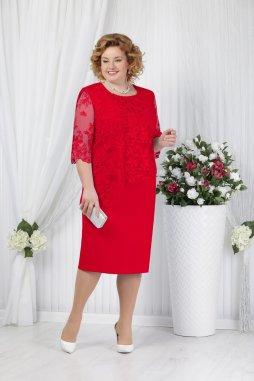 Luxusní společenské šaty pro plnoštíhlé Pietrina červené