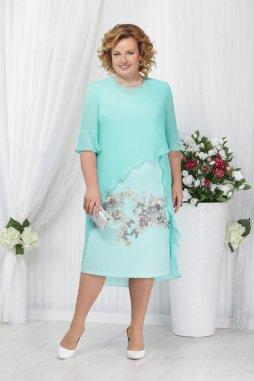 Luxusní společenské šaty pro plnoštíhlé Rossana mentolové s šifonovým svrškem