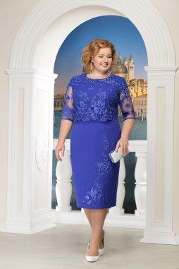 Luxusní společenské šaty pro plnoštíhlé Robertina modré s krajkovým svrškem