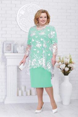 Luxusní společenské šaty pro plnoštíhlé Philippa mentolové s krajkovým svrškem