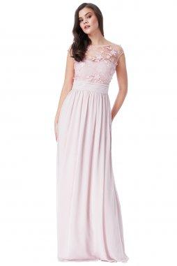 Luxusní společenské šaty Floretta světle růžové