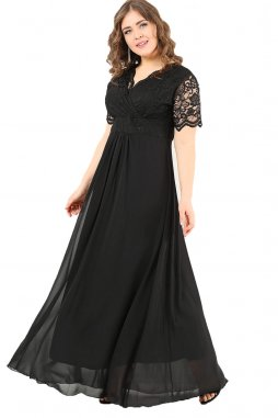 Společenské šaty pro plnoštíhlé Orlanda černé dlouhé