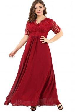 Společenské šaty pro plnoštíhlé Orlanda vínově červené dlouhé