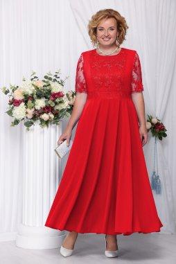 Luxusní společenské šaty pro plnoštíhlé Eugenia červené dlouhé