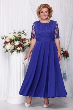 Luxusní společenské šaty pro plnoštíhlé Eugenia modré dlouhé