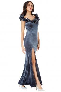 Dlouhé luxusní plesové sametové šaty Apolonia šedostříbrné