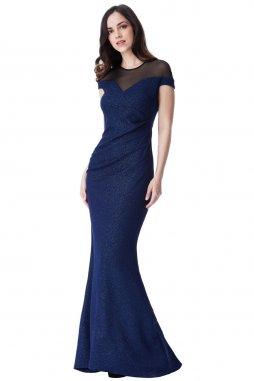 Dlouhé plesové šaty Eula tmavě modré