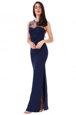 Dlouhé plesové šaty Nieve tmavě modré