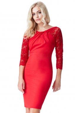 Společenské šaty pro plnoštíhlé Bessie červené