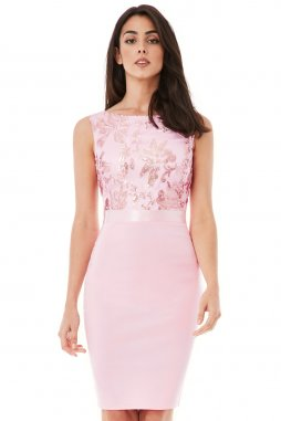 Společenské šaty pro plnoštíhlé Hannah světle růžové