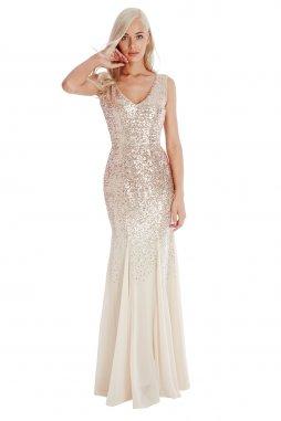 Luxusní společenské šaty Petronilla šampaňské