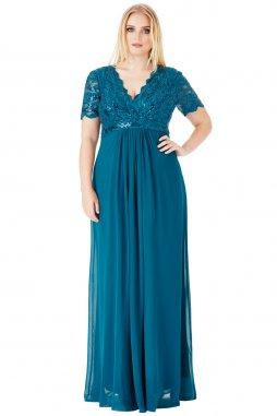 Luxusní společenské šaty pro plnoštíhlé Tiffanie modrozelené