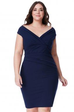 Společenské šaty pro plnoštíhlé Hailey tmavě modré