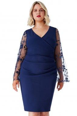 Společenské šaty pro plnoštíhlé Mariah tmavě modré