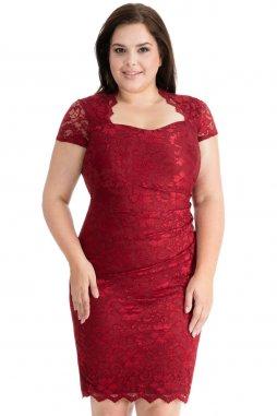 Společenské krajkové šaty pro plnoštíhlé Priscilla vínově červené s krátkým rukávem