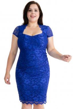 Společenské krajkové šaty pro plnoštíhlé Priscilla modré s krátkým rukávem
