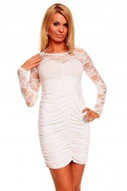 22aa2da7e13 Společenské šaty Lilian II krémově bílé s krajkou