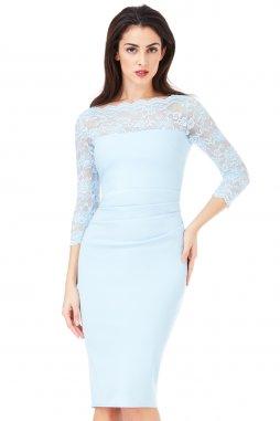 Společenské šaty pro plnoštíhlé Queen světle modré